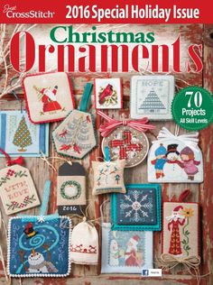 Just Cross Stitch Magazine Christmas Ornament Magazine 2016 loaded with new projects including the very last of the Prairie Schooler Christmas design. Cross Stitch Magazines, Cross Stitch Books, Just Cross Stitch, Cross Stitch Kits, Cross Stitch Charts, Cross Stitch Designs, Cross Stitch Embroidery, Cross Stitch Patterns, Cross Stitch Christmas Ornaments