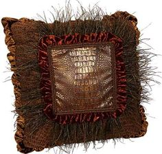 "ACCENT PILLOWS by Reilly-Chance Collection: Pillow #439 Russet, gold & brown velvet, faux croc, feathers...(19""x19"") . http://reilly-chanceliving.com/collections/pillows/products/bronze-and-brick-velvet-boxed-square-accent-pillow-439"