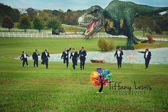 hilarious wedding party, t rex, dinosaur, tyrannosaurus, fun groom shot, wedding photography, funny groomsmen