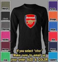 Arsenal Football Club Tshirt English Premier UEFA soccer club Long Sleeve shirts $24.85   5% off @TeesRus