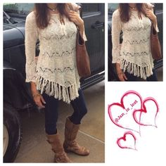 Fringed Tunic M/L Fringed Trimmed boho style sweater tunic. 55% Raime 45% cotton.  XS/S is modeled. This listing is for M/L best fit 6-10 in women's. No Trades  ✅ Price Firm Unless Bundling✅  Tops
