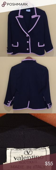 Valentino Blazer Amazing Valentino Blazer worn a few times and in excellent condition. Finished buttons and working pockets this is a real beauty. Rich navy blue and pink trim in Valentino fabulous quality. A steal! Valentino Jackets & Coats Blazers