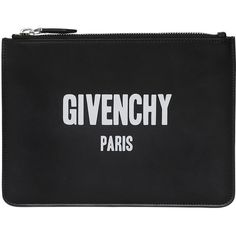 f9f9216a6f5 Givenchy Men Logo Print Medium Leather Pouch (2830 QAR) ❤ liked on Polyvore  featuring men s fashion and black