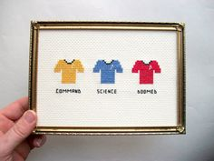 Doomed Redshirts cross stitch -- Trek across the stars with expendable ensigns, parody.
