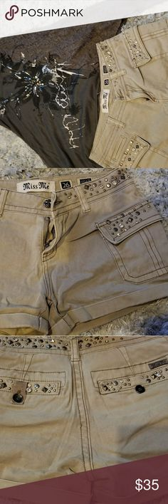 I just added this listing on Poshmark: Miss Me beige studded shorts, gray tank. #shopmycloset #poshmark #fashion #shopping #style #forsale #Miss Me #Other