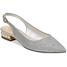 Marc Fisher Rise Slingback Pearl Flats ($79) ❤ liked on Polyvore featuring shoes, flats, silver glitter, pointed toe slingback flats, glitter shoes, pearl shoes, marc fisher flats and pointy toe slingback flats