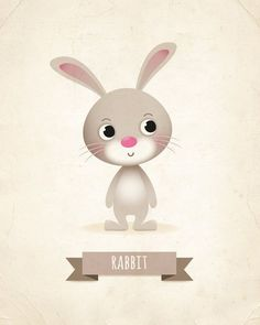 Nursery print, Rabbit art print kids illustration animal art, kids room decor…