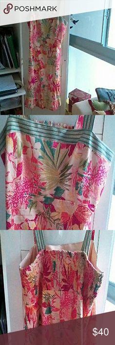 Bay Studio sundress Cotton Spandex. Very colorful ruffled sundress. Good condition. Size 16 Dresses Midi