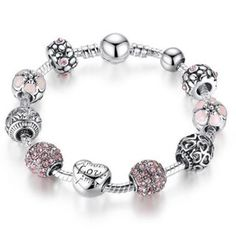 Cheap bracelet with, Buy Quality charm bangle directly from China silver charm bangle Suppliers: BAMOER Antique Silver Charm Bracelet & Bangle with Love and Flower Crystal Ball Women Wedding Valentine's Day Gift Bangle Bracelets With Charms, Silver Charm Bracelet, Silver Charms, Bracelet Set, Fashion Bracelets, Fashion Jewelry, Women Jewelry, Beaded Bracelets, Diy Jewelry