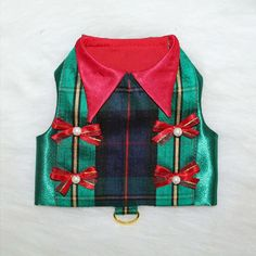 Christmas Dog Harness Vest, Great gift ideas, holiday designer dog collars, luxury dog clothes, designer dog coats, designer dog carriers, luxury dog beds, dog-themed jewelry for dog lovers, designer dog accessories, deluxe gift sets and more! www.theclassydog.com
