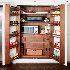 Larder with microwave in