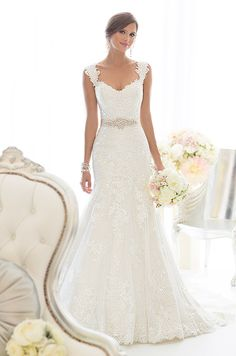 This beautiful all-over Lace fit and flare wedding gown features sparkling Diamante beading throughout and romantic cap sleeves. Essense Of Australia, Spring 2014