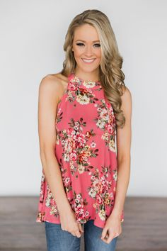 ef53e111c64 One Spring Day Floral Tank Top ~ Punch – The Pulse Boutique Floral Tank Top