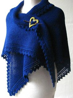Free Knitting Pattern for Truly Tasha's Shawl - Designed by Nancy Bush , this shawl features a knit body with a decorative lace border. Pictured project by scrandalla
