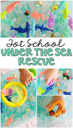 This under the sea rescue sensory bin was lots of fun to explore. Perfect for an ocean theme in tot school, preschool, or the kindergarten classroom.