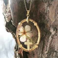 Real Pressed Flower Necklace with Cross Mini by flowersfadejewelry