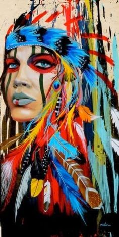 Portrait canvas art wall pictures for living room - Indian woman feathered pride painting - .- Portrait canvas art wall pictures for living room – Indian woman feathered pride painting – home decor, Native American Girls, American Indian Art, Native American Decor, American Modern, Native Indian, Native Art, Red Indian, Cherokee Indian Art, Cherokee Indian Tattoos