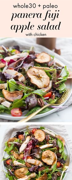 This Panera Fuji apple salad with chicken is a paleo copycat of the delicious Panera salad with no sugar dairy or funky ingredients! Bright flavorful and light this Panera Fuji apple salad with chicken is a delicious lunch or Paleo Salad Recipes, Whole30 Dinner Recipes, Real Food Recipes, Healthy Recipes, Copycat Recipes, Real Foods, Primal Recipes, Lunch Recipes, Healthy Food