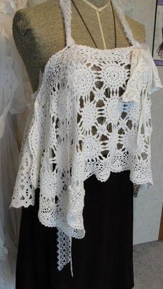 Boho chic doily crochet vintage lace halter top by SummersBreeze