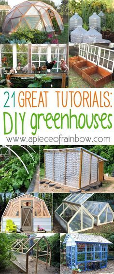 21 DIY Greenhouses Having a greenhouse is a great way to extend your gardening season!