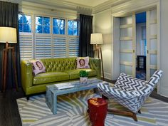 Gray Living Room Lime Green Sofa And White Chevron Upholstered Chair Sliding Pocket Doors Wood With Glass Panels