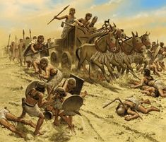 Carga de un carro de guerra sumerio, detrás avanza la infantería
