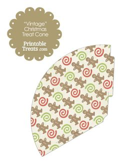 Vintage Gingerbread Cookie Printable Treat Cone from PrintableTreats.com