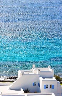 Beautifully whitewashed buildings with blue trim are a trademark of the Greek Islands.
