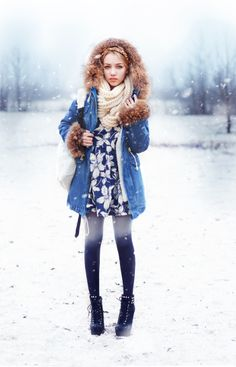 Aksinya Air ,style, fashion, winter, snow, parka chicwish, dress sheinside, tights choies, backpack persunmall