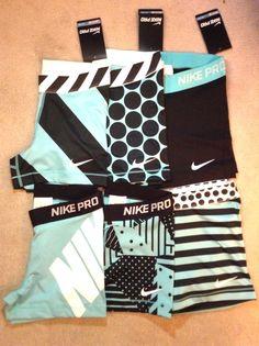 "Nike Pro Core Compression Shorts 3"" Spandex Light Aqua Printed Training Nwt!"
