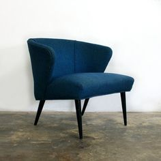 Mid-century blue lounge chair
