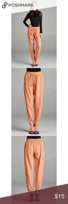 Long drawstring track pants long drawstring track pants w/elastic waistband & gold zipper details92% polyester 8% spandex color:Black pastel blue 2016 Pants Track Pants & Joggers
