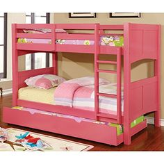 Furniture of America Colorpop Modern Twin-size Pull-out Trundle Strawberry Pink #kidsbedroomfurniture