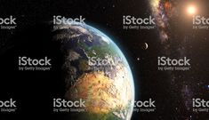 orange Sunrise over earth as seen from space. With moon and stars. Stock Foto, Homecoming, Sunrise, Earth, Orange, Pictures, Magazine Articles, Sunrises, Sunrise Photography