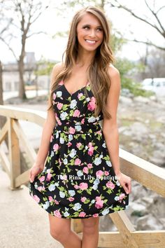 You'll be feeling brand new in our Brand New Me Floral Dress! Features criss-cross spaghetti straps, a v-neck, elastic band around the waist, lining underneath, and print in pink, green, and blue! Finish off this adorable look with wedges!
