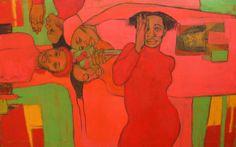 """Lucía Méndez Rivas - Pintora """"Aparición """" 104 cm X 65 cm Oil and charcoal on canvas - Available"""