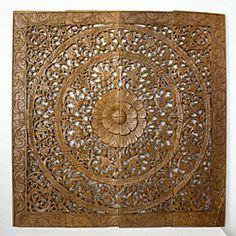 Reclaimed Teak Wood Natural Wax 48-inch Lotus Panel (Thailand) | Overstock.com Shopping - Big Discounts on Original Art