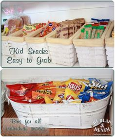 I've already done similar ideas, but I love the white bucket for chips. using baskets, buckets, thrifty items to organize the pantry (for the kids snacks when sitting! Organisation Hacks, Pantry Organization, Pantry Storage, Storage Bins, Pantry Baskets, Organizing Tips, Kitchen Storage, Ideas Despensa, Kitchen Pantry