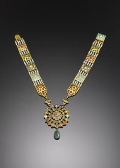 A gem-set and enamelled gold Necklace Northern India, 20th Century