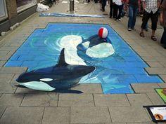 42 Most Breathtaking Street Art Works - Street Art - Chalk Art 3d Street Art, Street Art Painting, Amazing Street Art, Street Art Graffiti, Street Artists, Art Paintings, Graffiti Artists, Indian Paintings, Abstract Paintings