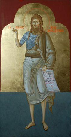Heilige Johannes de Voorloper Religious Icons, Religious Art, Byzantine Art, John The Baptist, Orthodox Icons, Saints, Fresco, Hymn Art