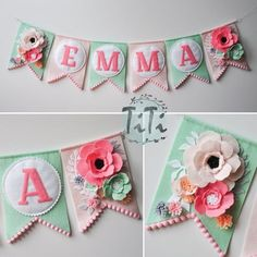 Personalized felt baby pennant banner name Custom Boho decor Bohemian Nursery Mint and pink Flags banner Pennant Banner Felt flowers Felt Christmas, Christmas Projects, Felt Crafts, Diy And Crafts, Fabric Crafts, Baby Dekor, Bohemian Nursery, Décor Boho, Bohemian Kids