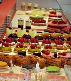Paris Patisseries ~ Pastry case at Pierre Herme on rue Vaugirard