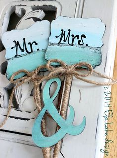 Rustic Beach Wedding Cake Topper Hand Painted Mr by ElaLakeDesign, $38.00