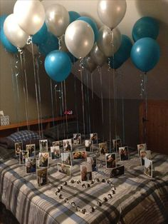 Gift ideas for man - Blue floating photo balloons for valentines - # gift idea . , Gift ideas for man - Blue floating photo balloons for valentines - # , Birthday Surprise Husband, Birthday Gifts For Boyfriend Diy, Cute Boyfriend Gifts, Surprise Gifts For Him, Boyfriend Anniversary Gifts, Year Anniversary Gifts, Boyfriend Ideas, Boyfriend Surprises, Boyfriends 21st Birthday