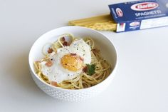 Easy Bacon, Egg and Cheese Breakfast Pasta  More reasons to eat pasta for breakfast.