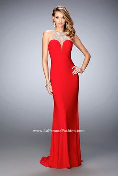 You are sure to feel glamorous and beautiful in La Femme Style #21929 available at Whatchamacallit Boutique