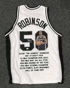 11af72a8a David Robinson  50 Signed Hand Painted Art Spurs Stat Jersey AUTO Sz XL JSA  LOA