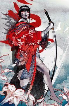 Geisha Illustration by Kent Floris Geisha Kunst, Geisha Art, Geisha Drawing, Art And Illustration, Botanical Illustration, Fantasy Anime, Fantasy Art, Tatoo Geisha, Japanese Geisha Tattoo