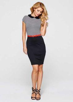 Облегающее мини-платье с ремнем, BODYFLIRT boutique, черный/белый